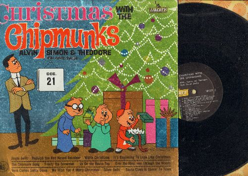 Chipmunks - Christmas With The Chipmunks: The Chipmunk Song, Santa Claus Is Comin' To Town, Frosty The Snow Man, Rudolph The Red-Nosed Reindeer (Vinyl MONO LP record) - VG7/VG7 - LP Records