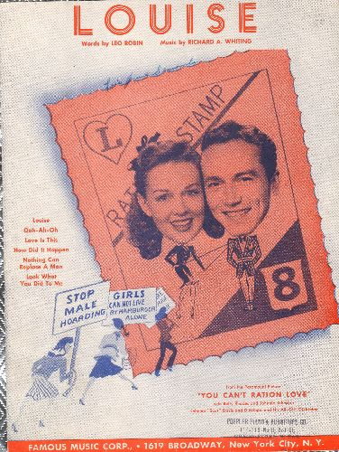 Chevalier, Maurice - Louise - Vintage SHEET MUSIC for the song made famous by Maurice Chevalier. Cover art shows singing duet Betty Rhodes and Johnnie Johnston - VG7/ - Sheet Music