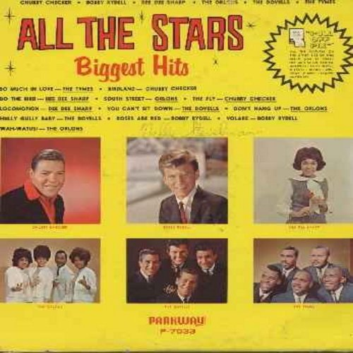 Checker, Chubby, Orlons, Dovells, Bobby Rydell, Dee Dee Sharp, Tymes - All The Stars Biggest Hits: So Much In Love, Do The Bird, Locomotion, Wah-Watusi, Birdland, South Street, You Can't Sit Down, Volare (Vinyl LP record) (pop-up fan-cards on back cover s