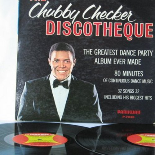Checker, Chubby - The Chubby Checker Discoteque: Watusi, Cha Cha Cha, Twist, Fish, Monkey, Limbo, Mashed Potatoes, Hucklebuck, Swim, Pony (2 vinyl MONO LP record set, gate-fold cover) - EX8/VG7 - LP Records