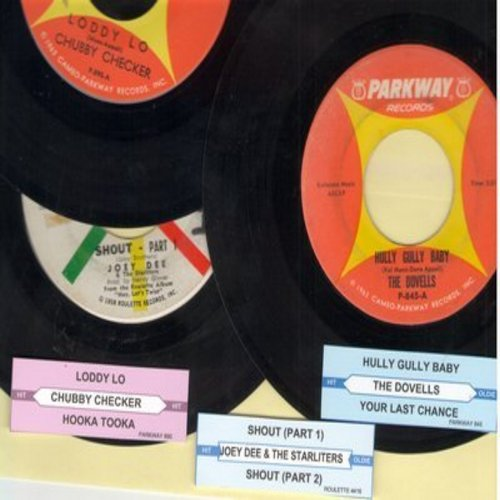 Dovells, Chubby Checker, Joey Dee & The Starliters - Juke Box Trio #1205: First issues in very good or better condition, includes hits Hully Gully Baby, Loddy Lo and Shout (Parts 1 + 2). With customized juke box labels, great set for a Juke Box! - VG7/ -