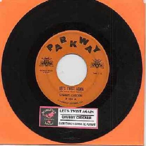 Checker, Chubby - Let's Twist Again/Everything's Gonna Be All Right (RARE solid orange label first issue with juke box label)(label blemish) - VG7/ - 45 rpm Records