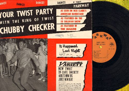 Checker, Chubby - Your Twist Party: Rock Around The Clock, Blueberry Hill, Ballin' The Jack, The Twist, The Hucklebuck, Let's Twist Again (Vinyl MONO LP record, orange/yellow label) - VG7/VG7 - LP Records
