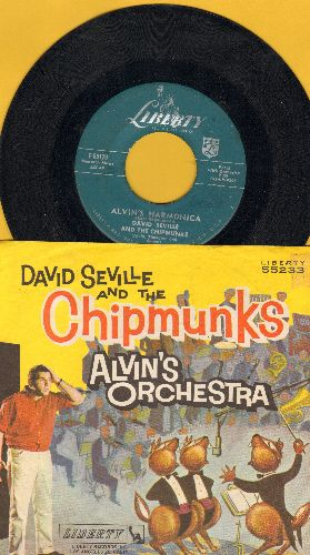 Chipmunks - Alvin's Orchestra/Copyright 1960 (hard-to-find Chipmunks Novelty Record with picture sleeve - NICE Condition!) - EX8/EX8 - 45 rpm Records