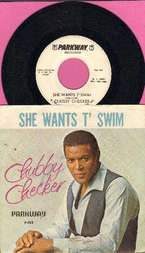 Checker, Chubby - She Wants T' Swim/You Better Believe It Baby (DJ advance pressing with picture sleeve and juke box label) - NM9/EX8 - 45 rpm Records