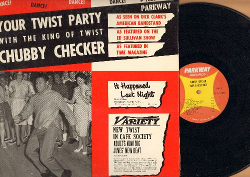 Checker, Chubby - Your Twist Party: Rock Around The Clock, Blueberry Hill, Ballin' The Jack, The Twist, The Hucklebuck, Let's Twist Again (Vinyl MONO LP record, orange/yellow label) (wol) - EX8/VG6 - LP Records