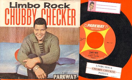 Checker, Chubby - Limbo Rock (PARTY FAVORITE!)/Popeye The Hitchhiker (with juke box label and picture sleeve) - EX8/EX8 - 45 rpm Records