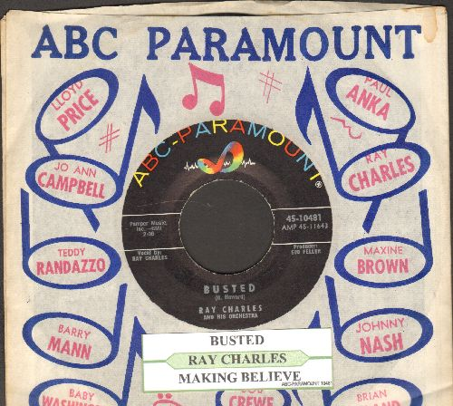 Charles, Ray - Busted/Making Believe (MINT condition with ABC-Paramount company sleeve and juke box label) - NM9/ - 45 rpm Records