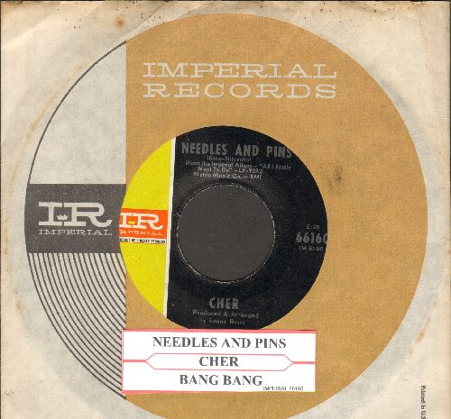 Cher - Needles And Pins/Bang Bang (My Baby Shot Me Down) (less common pressing featuring Needles And Pins, with juke box label Imperial company sleeve) - EX8/ - 45 rpm Records