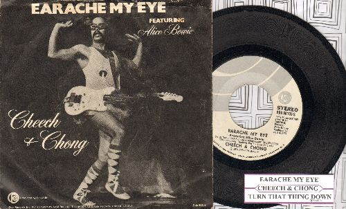 Cheech & Chong featuring Alice Bowie - Ear Ache My Eye/Turn That Thing Down (with juke box label and picture sleeve) - NM9/VG7 - 45 rpm Records
