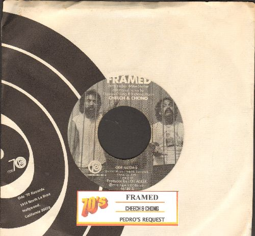 Cheech & Chong - Framed/Pedro's Request (with juke box label and RARE Ode company sleeve) - NM9/ - 45 rpm Records