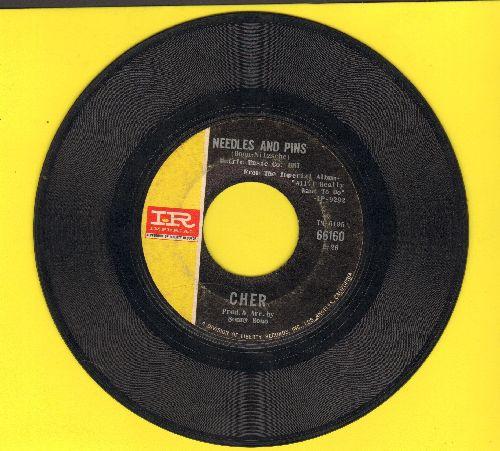 Cher - Needles And Pins/Bang Bang (My Baby Shot Me Down) (less common pressing featuring Needles And Pins) - VG7/ - 45 rpm Records