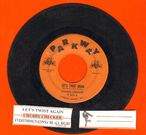 Checker, Chubby - Let's Twist Again/Everything's Gonna Be All Right (RARE solid orange label first issue with juke box label)(label blemish) - VG6/ - 45 rpm Records
