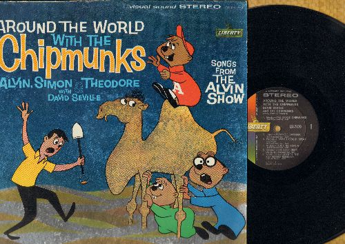 Chipmunks - Around The World With The Chipmunks: Japanese Banana, I Wish I Could Speak French, Stuck In Arabia, August Dear, Rudolph The Red-Nosed Reindeer (Vinyl STEREO LP record) - NM9/EX8 - LP Records
