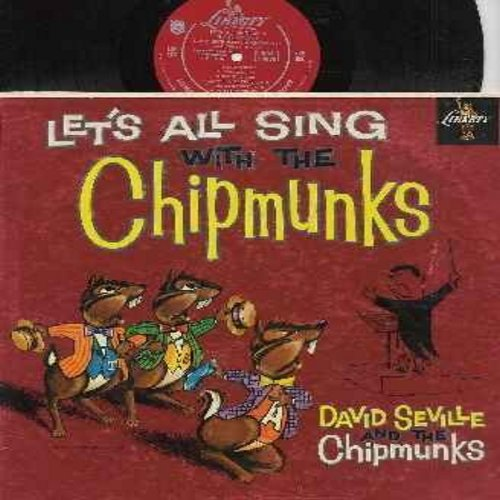 Chipmunks - Let's All Sing With The Chipmunks:  Alvin's Harmonica, Three Blind - (Folded) Mice, Ragtime Cowboy Joe, The Chipmunk Song (Vinyl MONO LP record with Chipmunks as Animal Characters, Black Vinyl, red Label, NICE condition!) - NM9/VG7 - LP Record