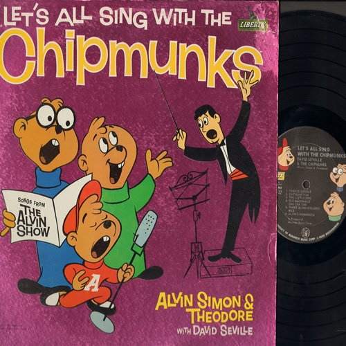 Chipmunks - Let's All Sing With The Chipmunks: Alvin's Harmonica, Three Blind - (Folded) Mice, Whistle While You Work, Ragtime Cowboy Joe, Yankee Doodle, The Chipmunk Song (Vinyl MONO LP record with Chipmunks as people, faces on label) - EX8/VG6 - LP Reco