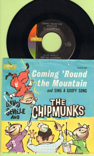 Chipmunks - Coming 'Round The Mountain/Sing A Goofy Song (with picture sleeve showing Chipmunks as animals!) - NM9/VG7 - 45 rpm Records