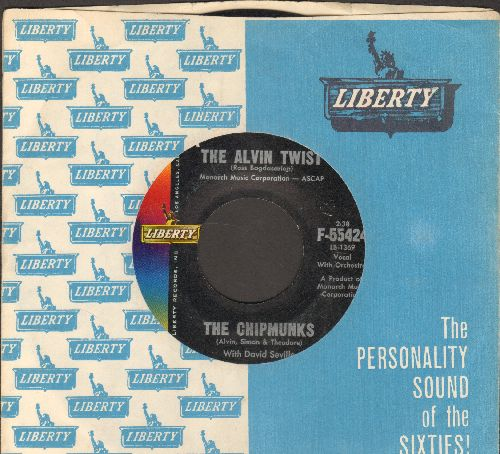 Chipmunks - The Alvin Twist/I Wish I Could Speak French (with RARE vintage Liberty company sleeve) - VG7/ - 45 rpm Records