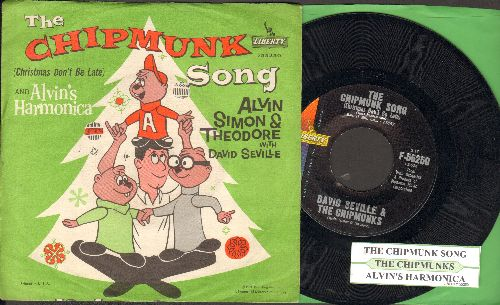 Chipmunks - The Chipmunk Song (Christmas Don't Be Late)/Alvin's Harmonica (1961 pressing with juke box label and picture sleeve, Chipmunks as people) - EX8/ - 45 rpm Records