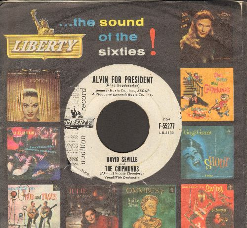 Chipmunks - Alvin For President/Sack Time (RARE DJ advance pressing of early Chipmunks Novelty with Liberty company sleeve) - NM9/ - 45 rpm Records