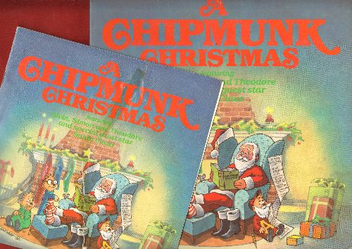 Chipmunks - A Chipmunk Christmas: Sleigh-Ride, Have Yourself A Merry Little Chritmas, Chipmunk Song, Here Comes Santa Claus (Vinyl STEREO LP record, gate-fold cover with lyrics WITH bonus PICTURE BOOK!) - NM9/EX8 - LP Records