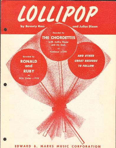 Chordettes - Lollipop -  SHEET MUSIC for the song made popular by The Chordettes. (This is SHEET MUSIC, not any other kind of media!)(3 binder holes on side) - EX8/ - Sheet Music
