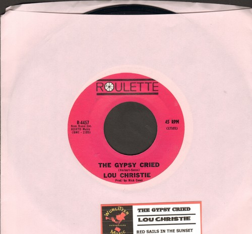 Christie, Lou - The Gypsy Cried/Red Sails In The Sunset (purple label first issue with juke box label) - EX8/ - 45 rpm Records