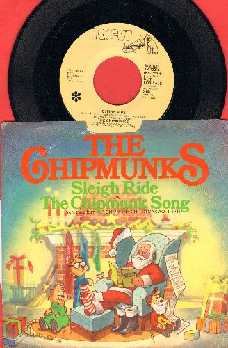 Chipmunks - Sleigh Ride/The Chipmunk Song (DJ advance copy of 1981 issue with picture sleeve) - NM9/EX8 - 45 rpm Records