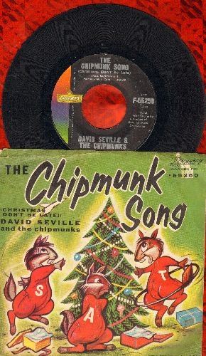 Chipmunks - The Chipmunk Song/Alvin's Harmonica (RARE 1959 issue with picture sleeve showing Chipmunks as animals) - EX8/VG7 - 45 rpm Records