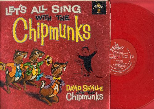 Chipmunks - Let's All Sing With The Chipmunks: Alvin's Harmonica, Three Blind - (Folded) Mice, Ragtime Cowboy Joe, Yankee Doodle, The Chipmunk Song (Vinyl MONO LP record, RARE red vinyl pressing) - VG7/VG7 - LP Records