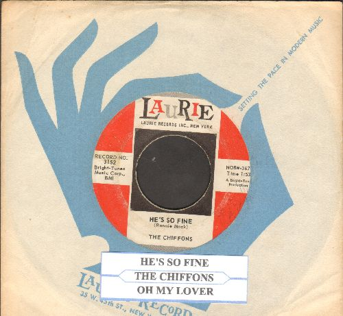 Chiffons - He's So Fine/Oh My Lover (with company sleeve and juke box label)(bb) - VG7/ - 45 rpm Records