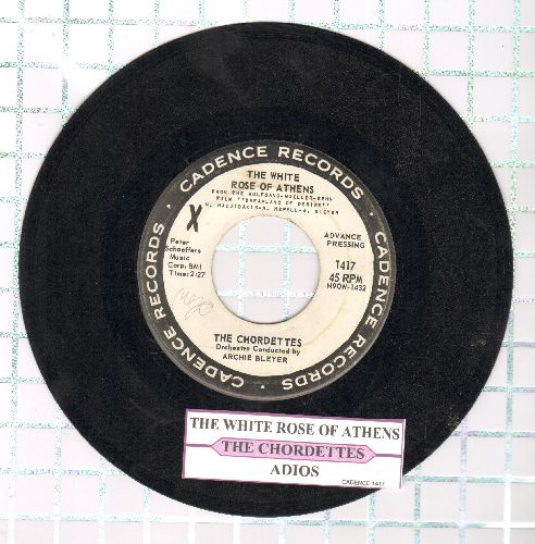 Chordettes - The White Rose Of Athens/Adios (DJ advance pressing with juke box label) - VG7/ - 45 rpm Records