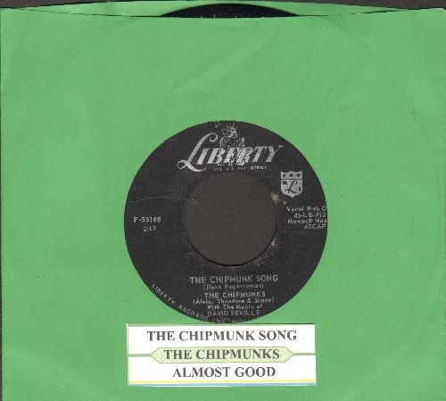 Chipmunks - The Chipmunk Song/Almost Good (RARE black label pressing with juke box label) - NM9/ - 45 rpm Records