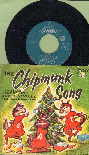 Chipmunks - The Chipmunk Song/Alvin's Harmonica (RARE 1959 issue with picture sleeve showing Chipmunks as animals) - NM9/EX8 - 45 rpm Records