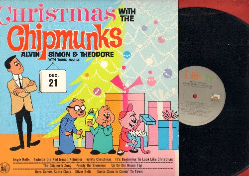 Chipmunks - Christmas With The Chipmunks: The Chipmunk Song, Santa Claus Is Comin' To Town, Frosty The Snow Man, Rudolph The Red-Nosed Reindeer (Vinyl MONO LP record, re-issue of vintage recordings) - NM9/NM9 - LP Records