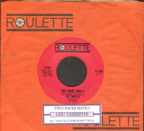 Christie, Lou - Two Faces Have I/All That Glittlers Isn't Gold (dark pink label first issue with juke box label and Roulette company sleeve) - EX8/ - 45 rpm Records