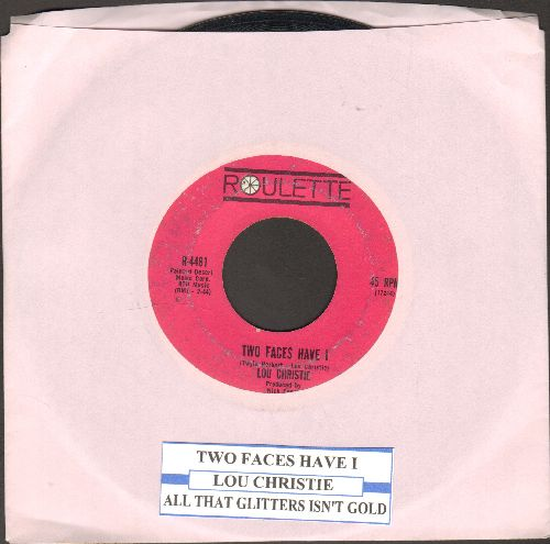 Christie, Lou - Two Faces Have I/All That Glittlers Isn't Gold (dark pink label first issue with juke box label) - VG7/ - 45 rpm Records