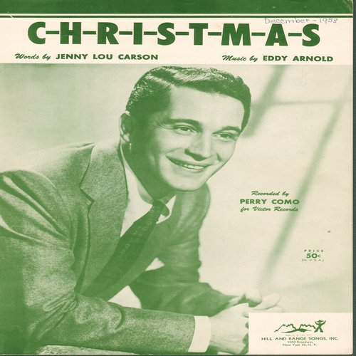 Como, Perry - C-H-R-I-S-T-M-A-S - Vintage SHEET MUSIC for the song made famous by Perry Como (This is SHEET MUSIC, not any other kind of media!) - EX8/ - Sheet Music