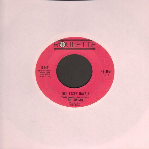 Christie, Lou - Two Faces Have I/All That Glittlers Isn't Gold (dark pink label first issue)(minor wol) - EX8/ - 45 rpm Records