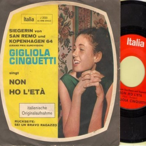 Cinquetti, Gigliola - Non Ho L'eta (WINNER San Remo and Grand Prix Eurovision Copenhagen 1964)/Sei Un Bravo Ragazzo (German Pressing, sung in Italian, with picture sleeve) - M10/EX8 - 45 rpm Records