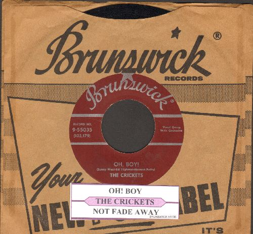 Crickets - Oh, Boy!/Not Fade Away (with juke box label and RARE vintage Brunswick company sleeve) (sol) - EX8/ - 45 rpm Records