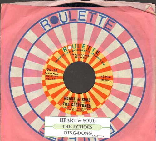 Cleftones - Heart & Soul/Ding-Dong (by The Echoes on flip-side) (double-hit re-issue with juke box label and Roulette company sleeve) - NM9/ - 45 rpm Records