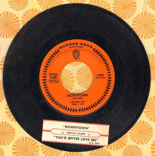 Clark, Petula - Downtown/You'd Better Love Me (with juke box label) - EX8/ - 45 rpm Records