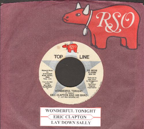 Clapton, Eric  - Wonderful Tonight/Lay Down Sally (double-hit re-issue with juke box label and RSO company sleeve) - NM9/ - 45 rpm Records