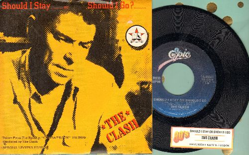 Clash - Should I Stay Or Should I Go/First Night Back In London (with juke box labe and picture sleeve) - NM9/NM9 - 45 rpm Records