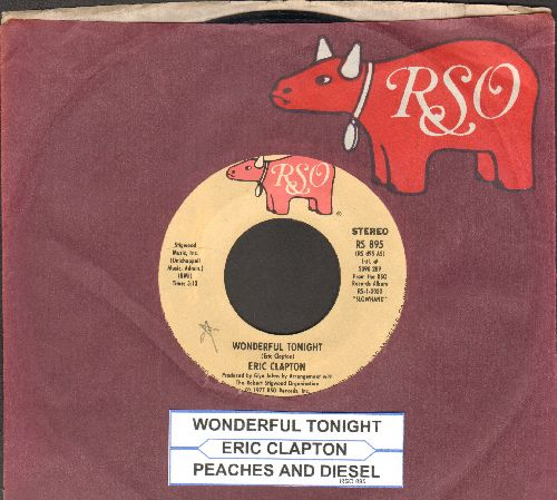 Clapton, Eric - Wonderful Tonight/Peaches And Diesel (with RSO company sleeve and juke box label) - EX8/ - 45 rpm Records