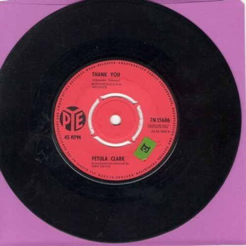 Clark, Petula - Thank You (Danke)/Crying Through A Sleepless Night (British Pressing with removable spindle adapter) - EX8/ - 45 rpm Records