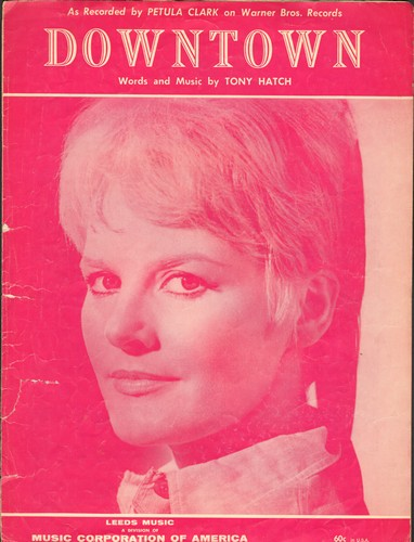 Clark, Petula - Downtown - Vintage SHEET MUSIC for Petula Clark's Signature Song, NICE cover portrait of the popular singer! - VG7/ - Sheet Music