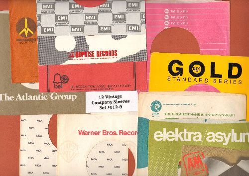 Company Sleeves - 12 Vintage Company Sleeves - Set #012-9 (exactly as pictured!) - Dress up your 7 inch vinyl records in original company sleeves of the 1960s & 70s. Good to excellent condition. - /EX8 - Supplies