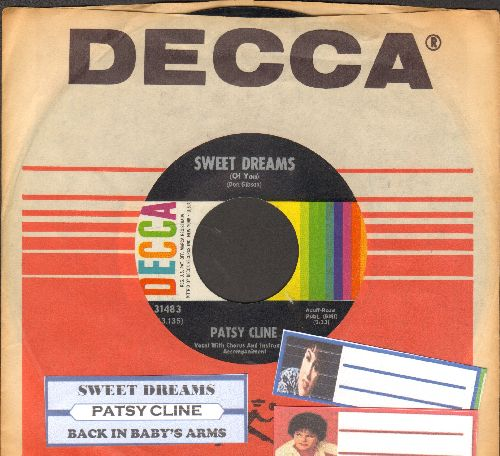 Cline, Patsy - Sweet Dreams/Back In Baby's Arms (with juke box label and Decca company sleeve) - EX8/ - 45 rpm Records